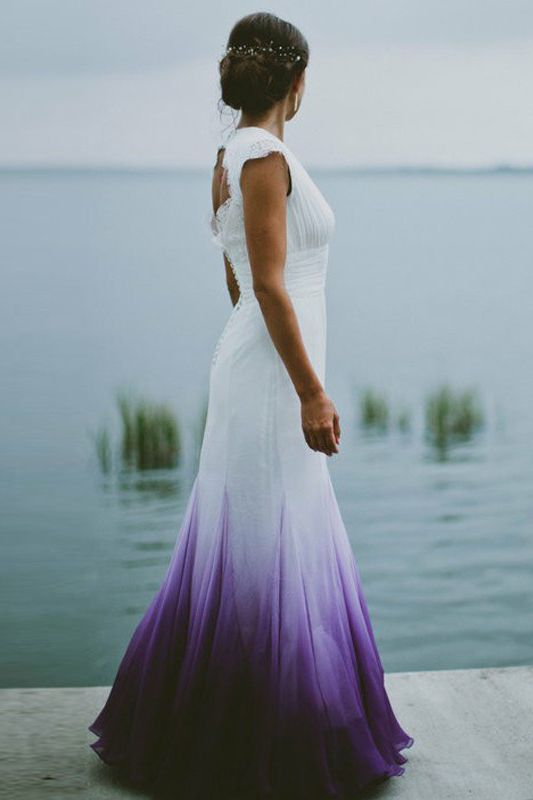 A-Line V-Neck Open Back Ombre Purple Chiffon Wedding Dress with Lace ...