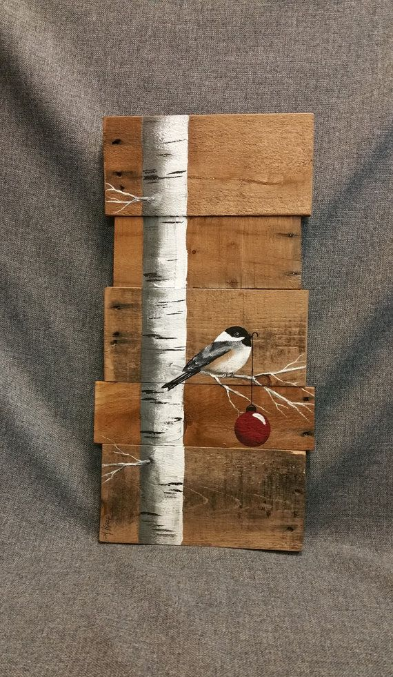 Christmas sign White Birch red bulb Natural