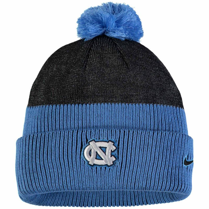 0889db042b8 North Carolina Tar Heels Nike New Day Cuffed Knit Hat with Pom - Carolina  Blue