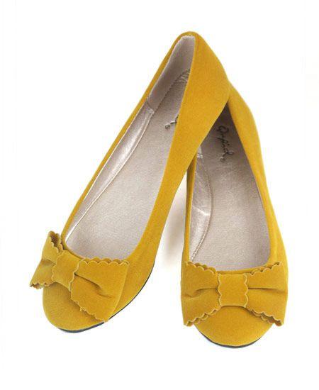 Mustard Yellow Velvet Ballet Flats with