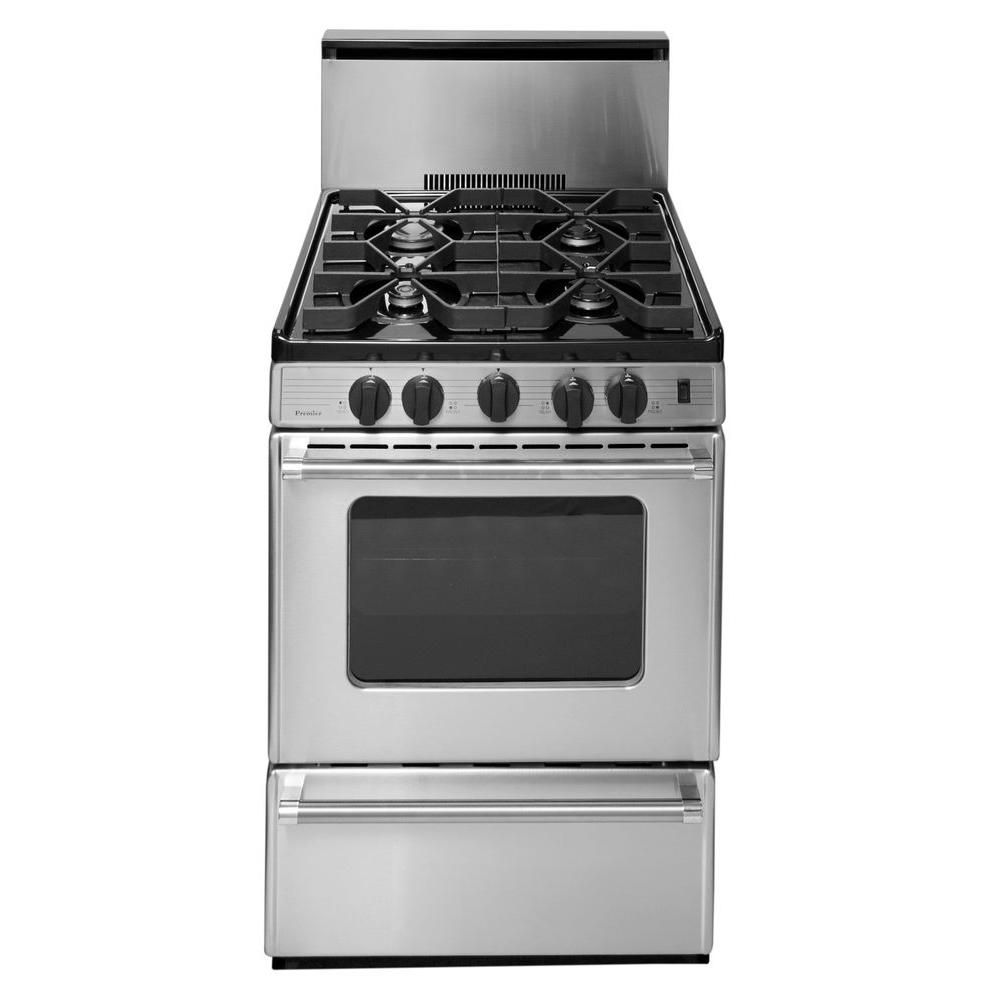 Premier Proseries 24 In 2 97 Cu Ft Freestanding Gas Range With Sealed Burners In Stainless Steel Silver Cleaning Oven Racks Oven Burner Steel Manufacturers