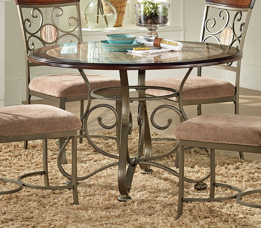 Steve Silver Thompson 45 Inch Round Dining Table W Faux Marble Inlay Round Dining Room Sets Dinette Tables Round Dining Table