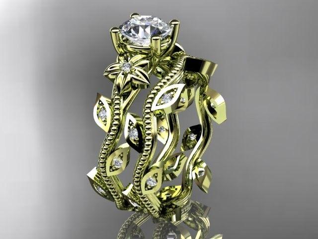 14k yellow gold diamond leaf and vine wedding ring,engagement ring,engagement setADLR151