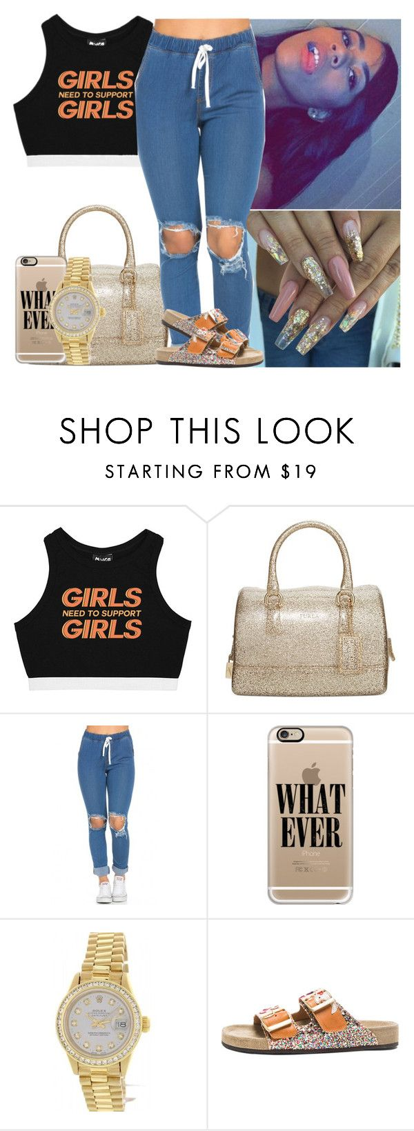 """..."" by melaninmonroee ❤ liked on Polyvore featuring Minga, Furla, Casetify, Rolex and Isabel Marant"