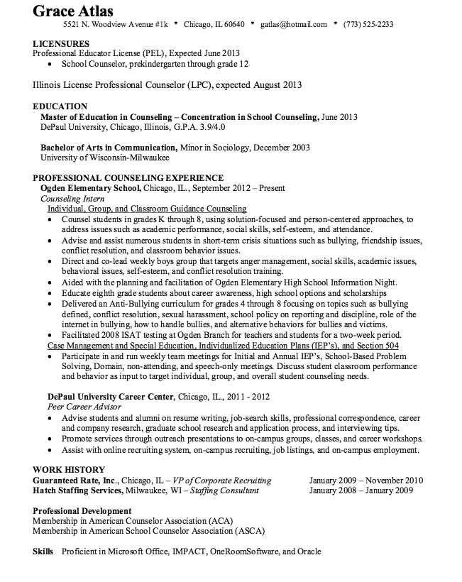 School Counselor Resume Sample Httpresumesdesignschool