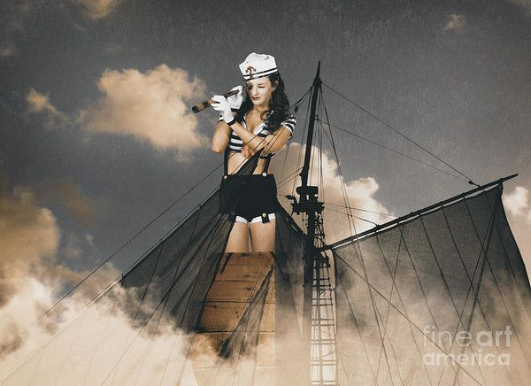 Fine art portrait of a sailor pinup girl on lookout duties from the mast of a