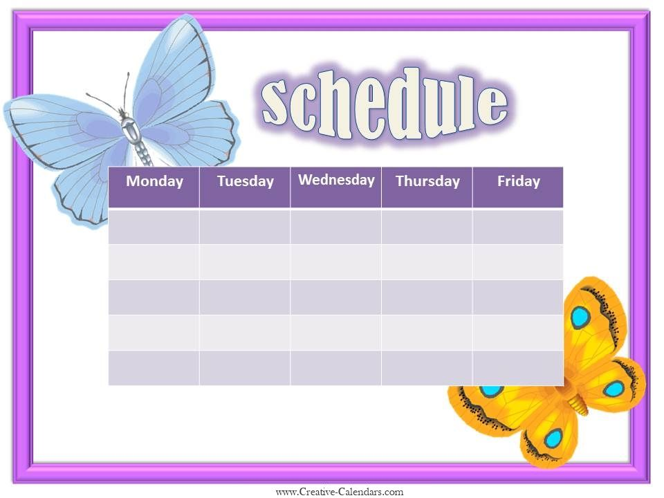 Free Weekly Calendars For Girls  Printable    Weekly
