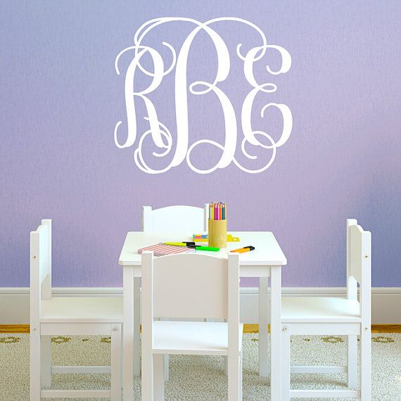 MonogramWallDecalFancyInitialsWallbymichellechristina - Monogram wall decal for kids
