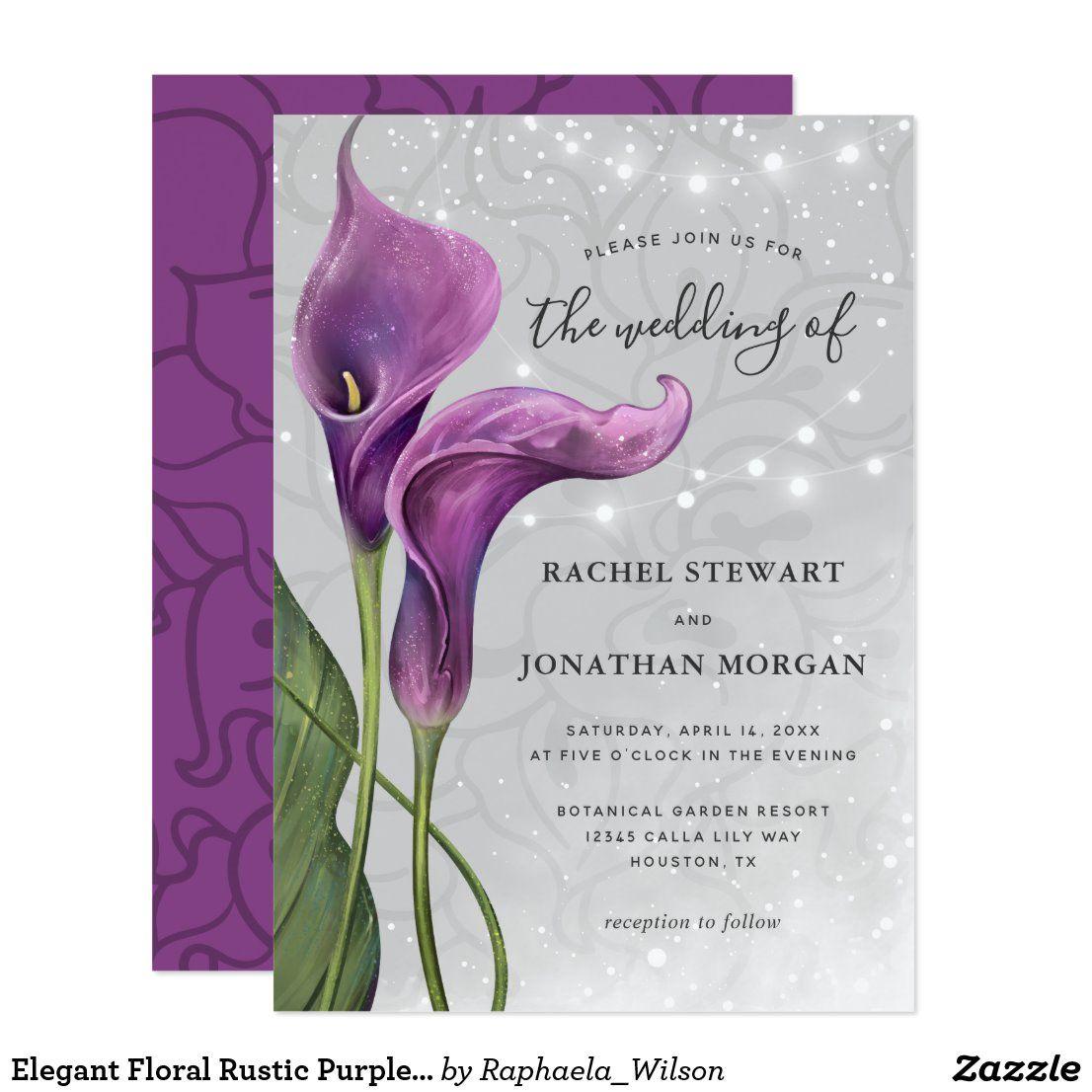 Elegant Floral Rustic Purple Calla Lily Wedding Invitation