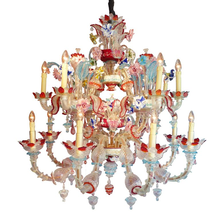 1940 S Murano Multi Colored Chandelier 1stdibs Com Colorful