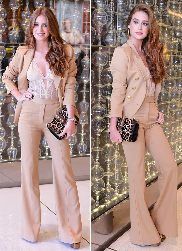 3b8cc32fe Look do dia  Terno nude e body de renda de Marina Ruy Barbosa - Moda    Feminices