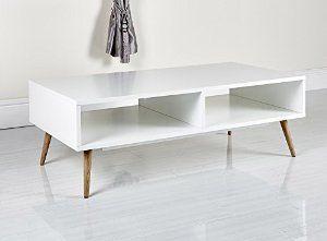 Modern Scandinavian White Retro Home Furniture Range With Solid Oak Legs Sideboard Tv Stand Coffe Retro Coffee