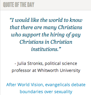 Professor Julia Stronks on #Christian institutions hiring gay Christians: http://spokanefavs.com/2014/04/09/after-world-vision-evangelicals-debate-boundaries-over-sexuality/