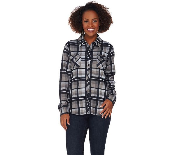 Photo of Denim & Co. Brushed Heavenly Jersey Plaid Button Front Shirt – QVC.com