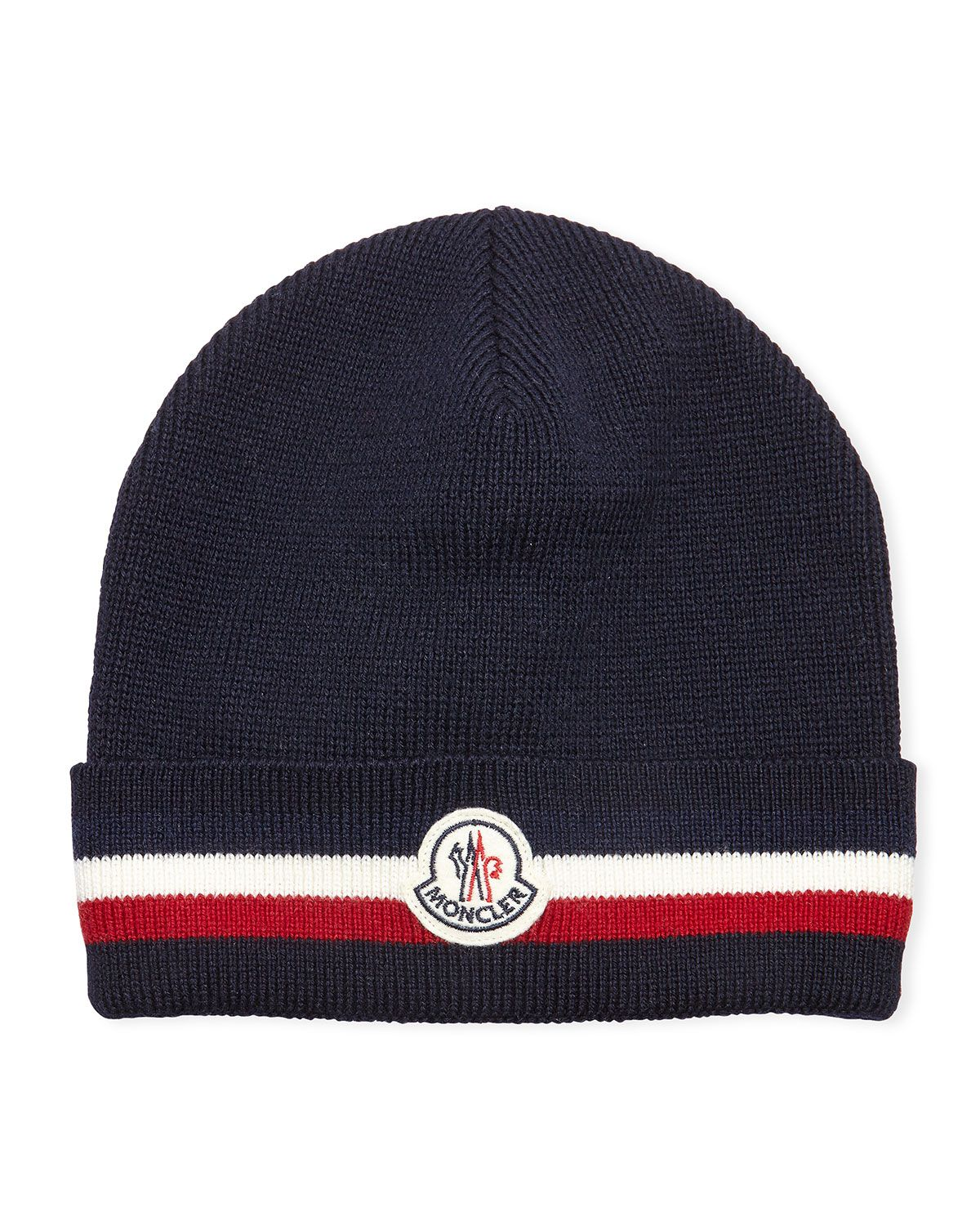 best authentic a261b 69f48 Striped Logo Wool Hat, Navy - Moncler