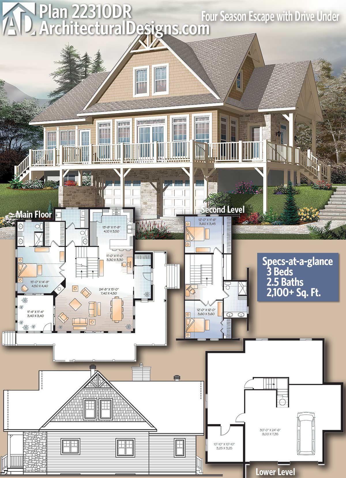 Plan 22310dr Four Season Escape With Drive Under Garage Architecture House Dream House Plans Lake House Plans