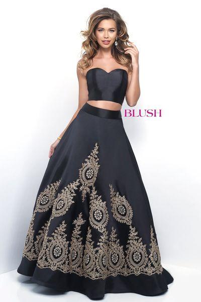 Cream Gold and Black Prom Dresses