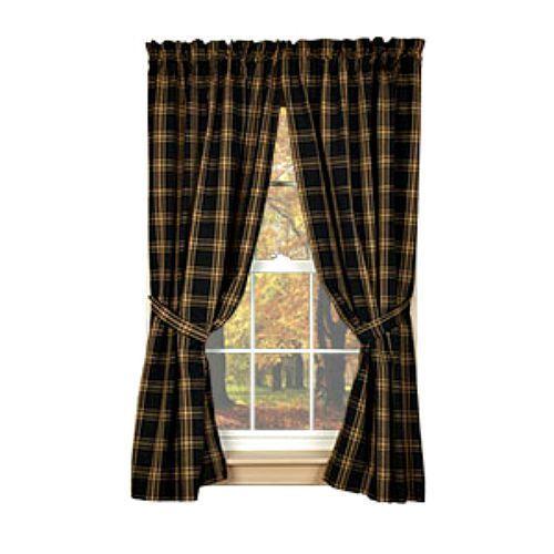 New Primitive Country Homespun Classic Tan Black Plaid Curtain