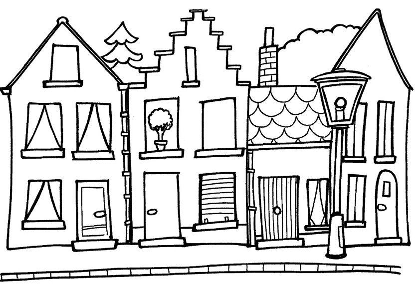 rijtjes huis straat kleurplaten huis illustratie en
