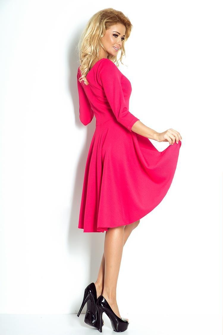 2880f30be1 Sukienka Asymetryczna z Rękawem Malinowa NU90-2