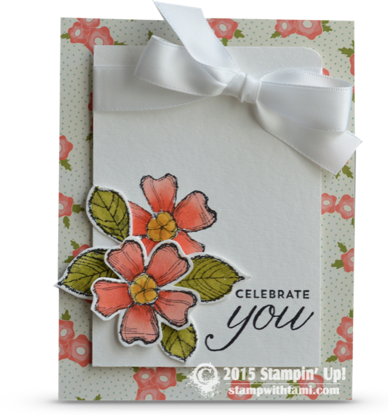 """Having some fun watercoloring with aqua painters and the new Stampin Up Birthday Blossoms stamp set to create this gorgeous """"Celebrate You"""" card. I love the Calypso coral, Delightful Dijon and Old Olive color combination. The background paper is the new Pretty Petals."""