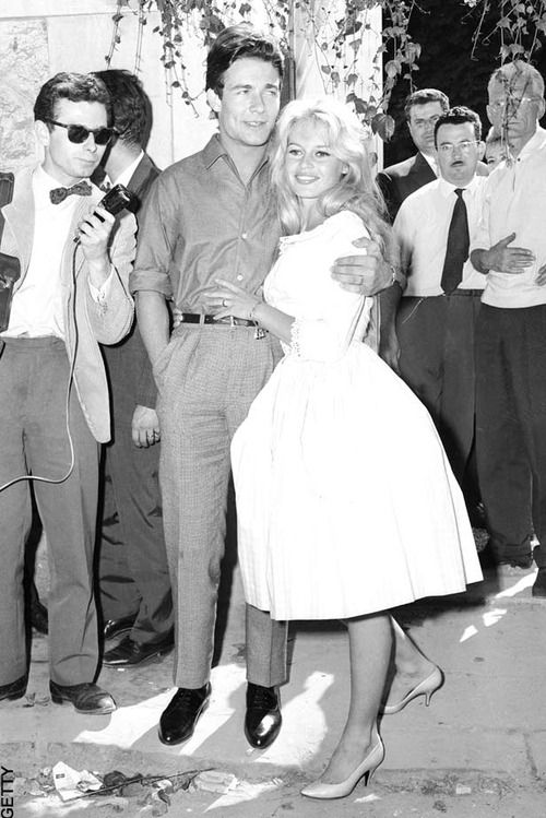 brigitte bardot wore a pink gingham dress when she wed jacques