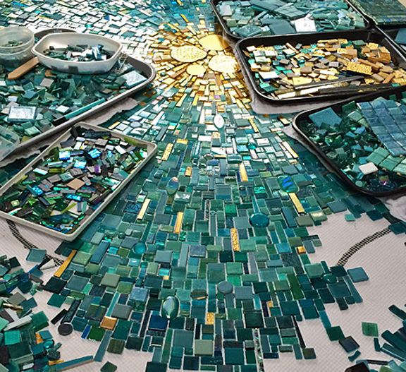 Mosaic commission in progress be Sonia King Mosaic Artist