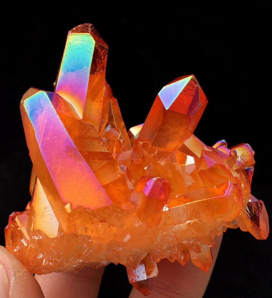 88g Orange Aura Quartz Crystal Titanium Coating Crystal ...
