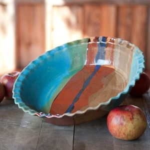 wheel thrown pottery ideas | JANET WILLIAMS pottery — Pie Dish - Turquoise Trail