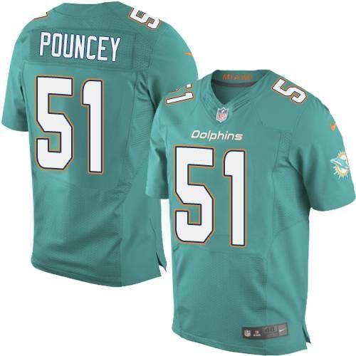 e2783365d Men s Miami Dolphins  51 Mike Pouncey Nike Aqua Green Elite Jersey ...