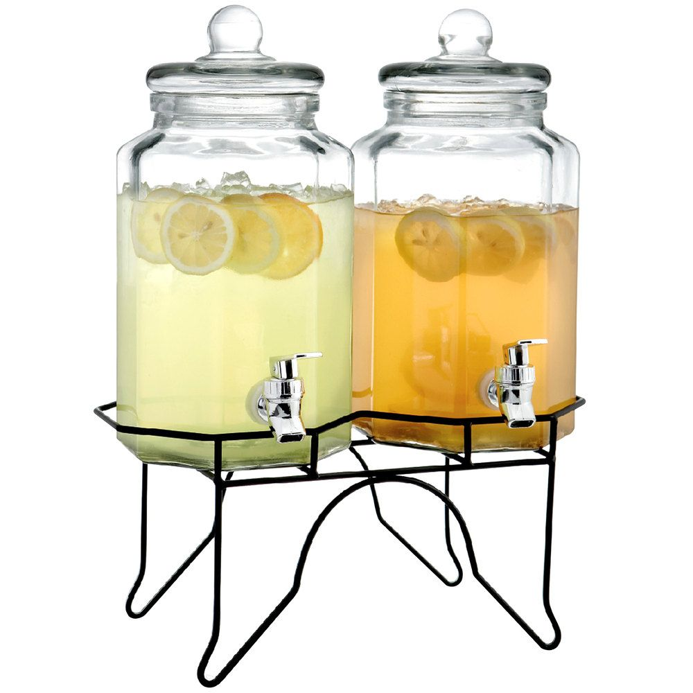Double 1 Gallon Style Setter Laredo Octagon Glass Beverage Dispenser ...