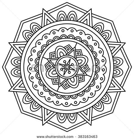 Mandala. Black and white round ornament. Vector illustration ...