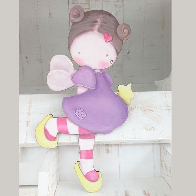 Siluetas madera infantil efecto pintado a mano hada con for Dibujos infantiles pintados