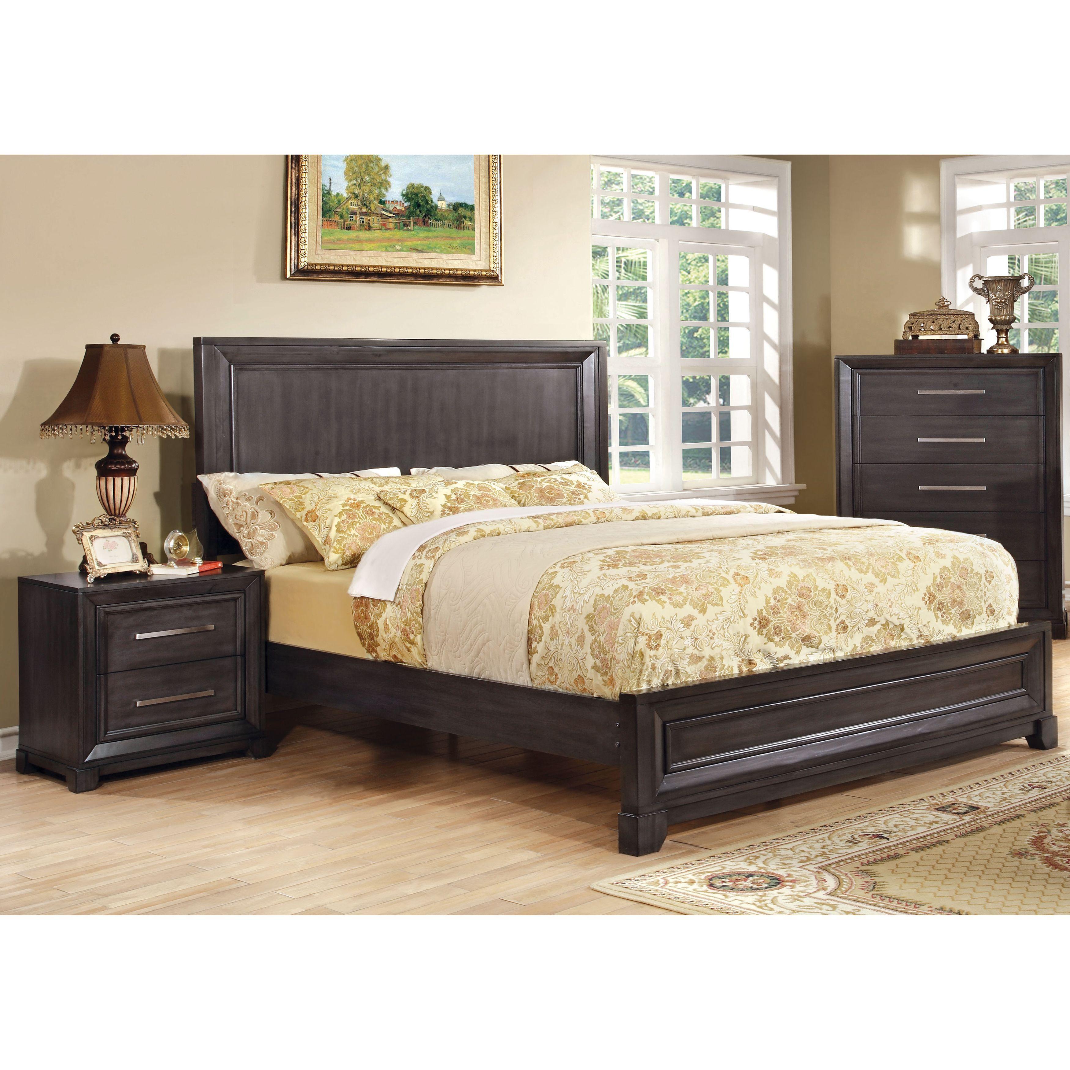 furniture of america stoneward dark grey 2 piece bed and nightstand