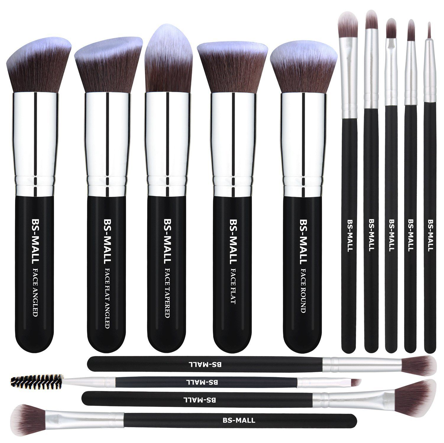 BSMALL Makeup Brushes Premium 14 Pcs Synthetic Foundation