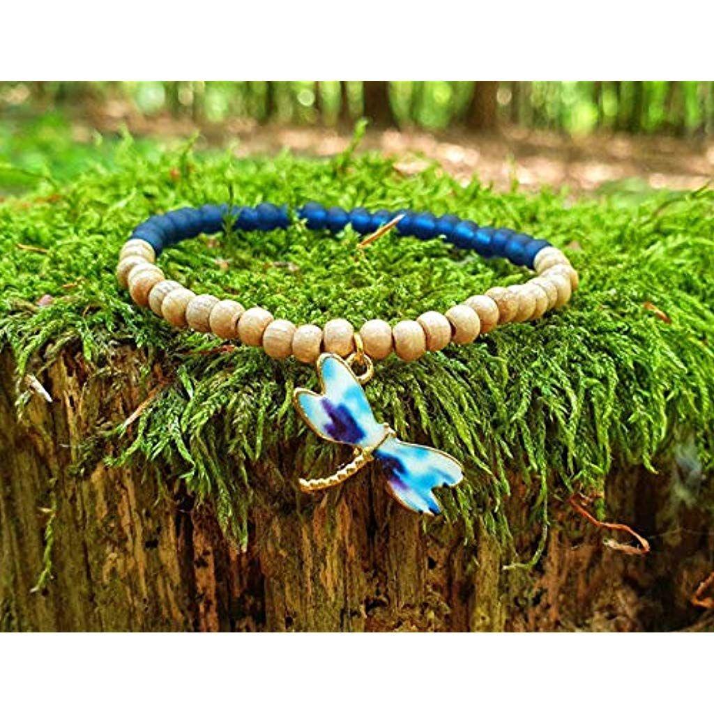 Armband Perlen Libelle Holz Gold Boho Ethno Blau Stretch