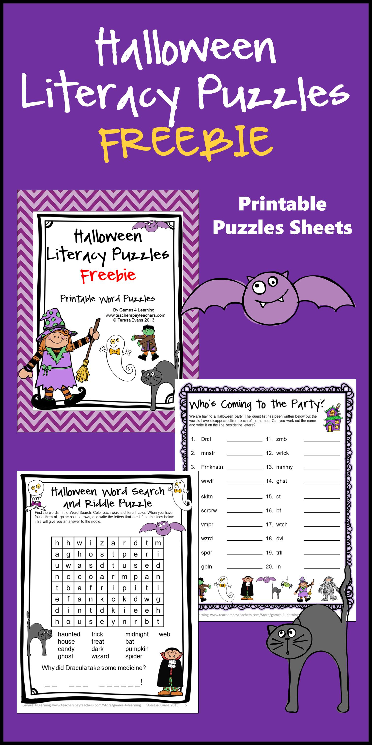 Free Halloween Literacy Activities With Word Search And