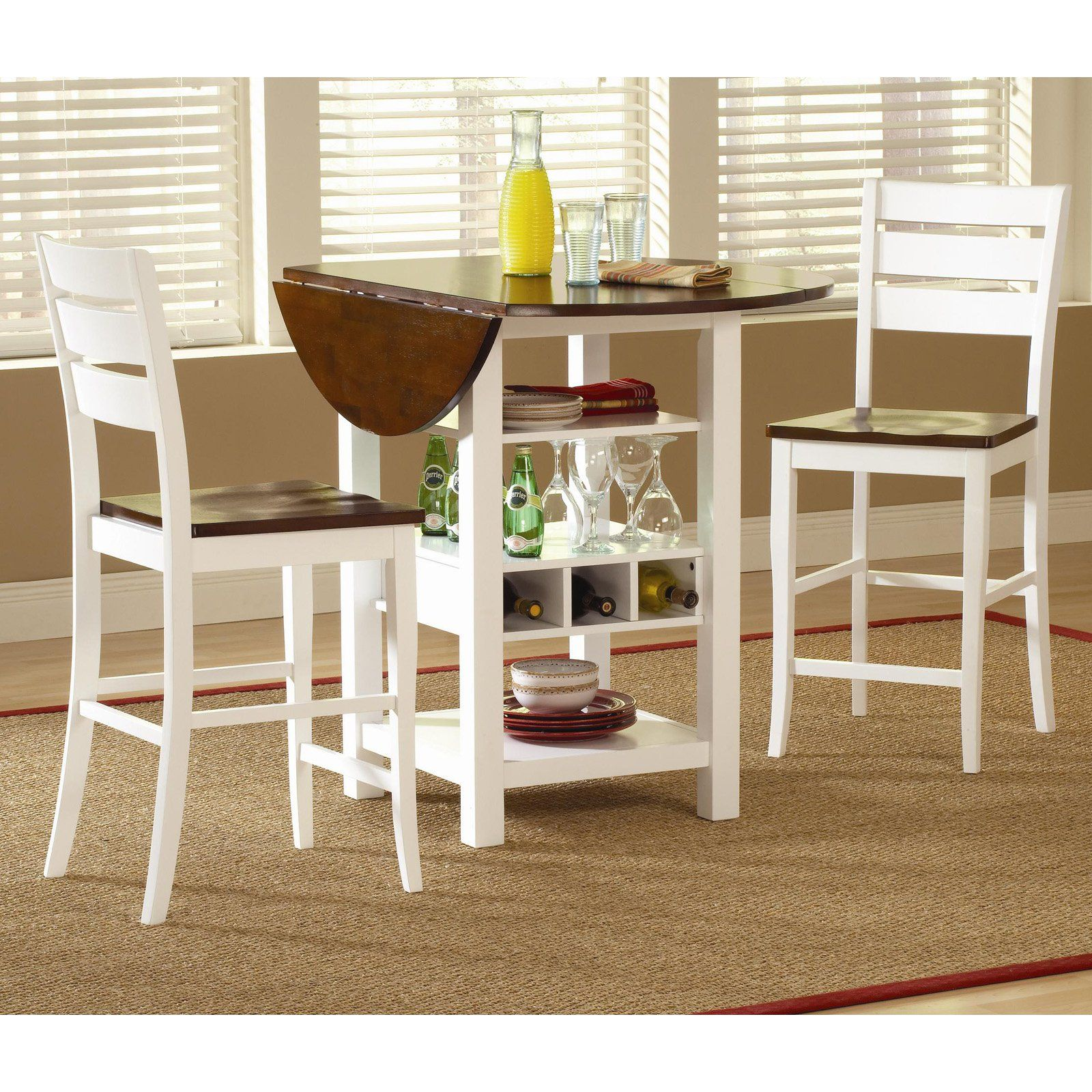 Counter Height Drop Leaf Dining Set   White | From Hayneedle.com