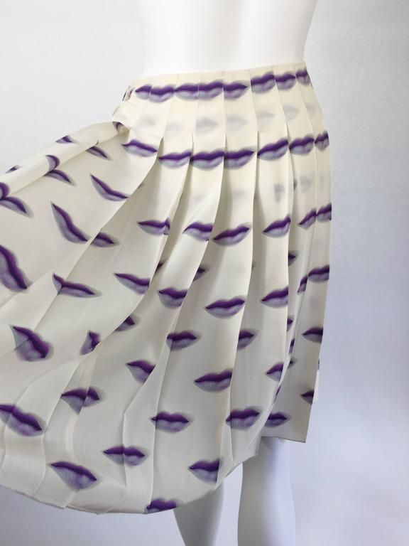 8224651cda Prada Purple Lip Print Silk Pleated Skirt Spring 2000 Rare and Collectable 6