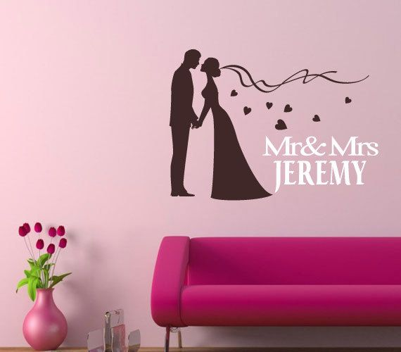 Custom wall decal,family wall sticker,Personalized couple initials ...