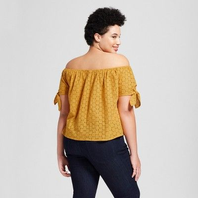 486c57d49a8b97 Women's Plus Size Eyelet Off the Shoulder Top - Universal Thread Gold 2X,  Yellow