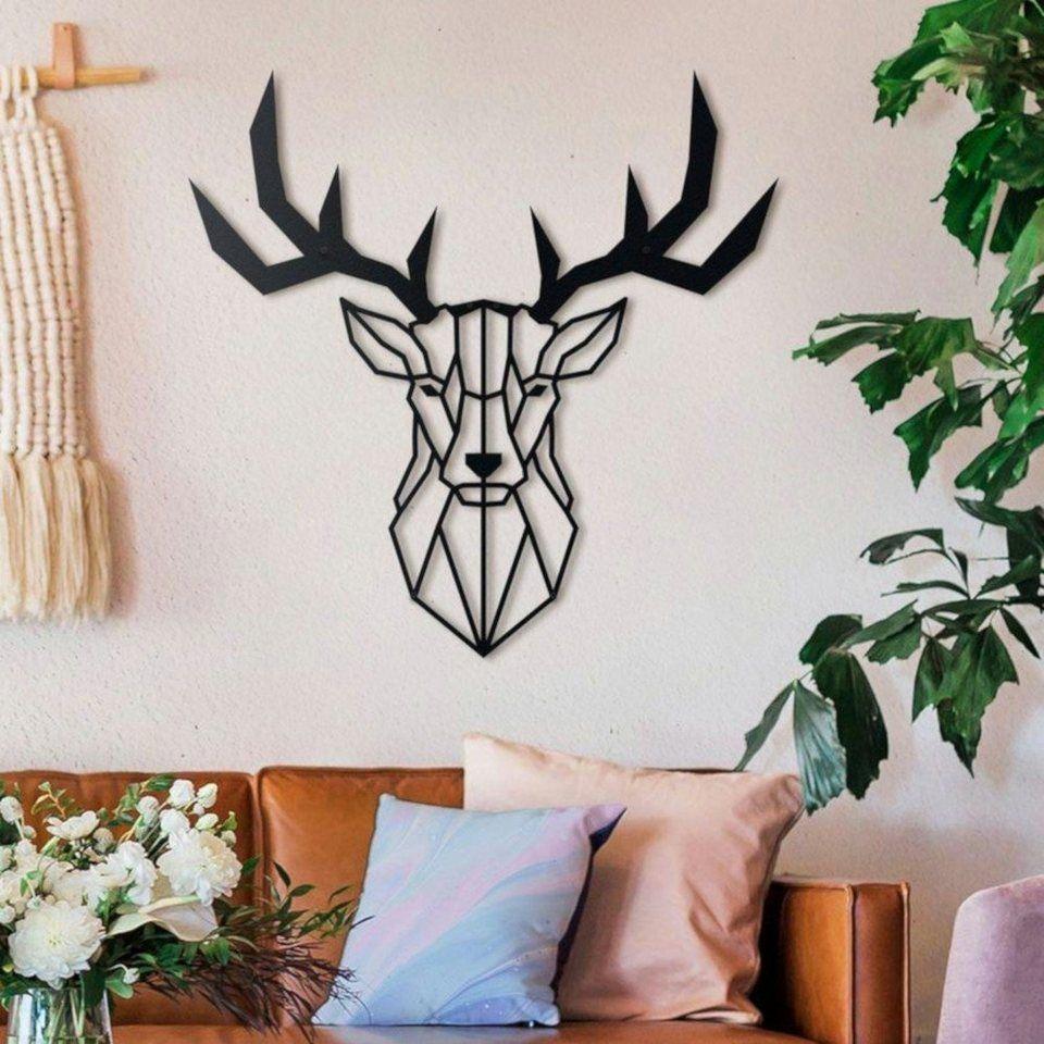 hoagard metall wandbild hirschkopf xl aus mattschwarz wanddekoration online kaufen otto geometrische wand ideen schlafzimmer amazon