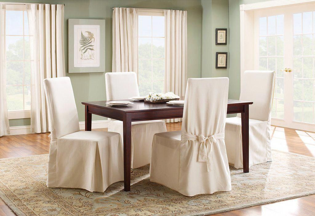 Cotton Duck Long Dining Chair Slipcover One Piece 100 Cotton