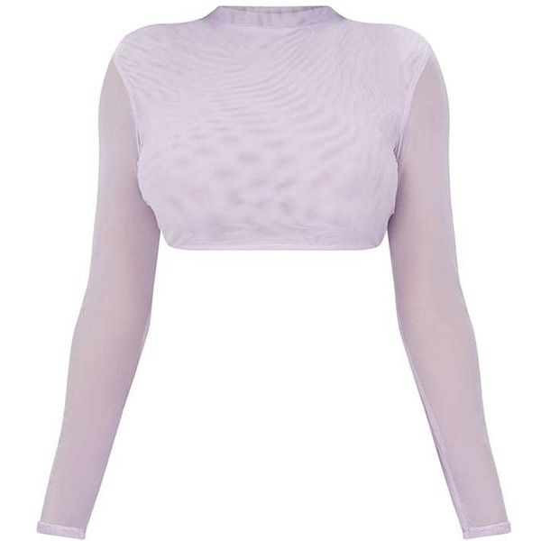 c3451513505da Shape Lilac Mesh High Neck Crop Top ( 25) ❤ liked on Polyvore featuring tops