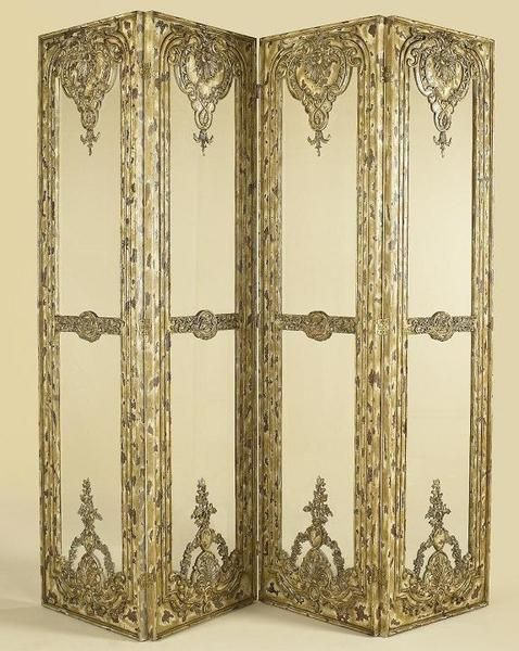 Hand Carved and Distressed Four Panel 100 Inch Room Divider