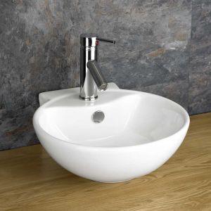 integral overflow modern round design large handbasin or