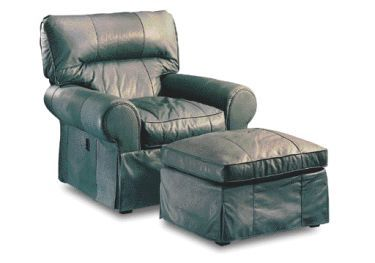Skirted Tilt Back Leather Chair With Ottoman