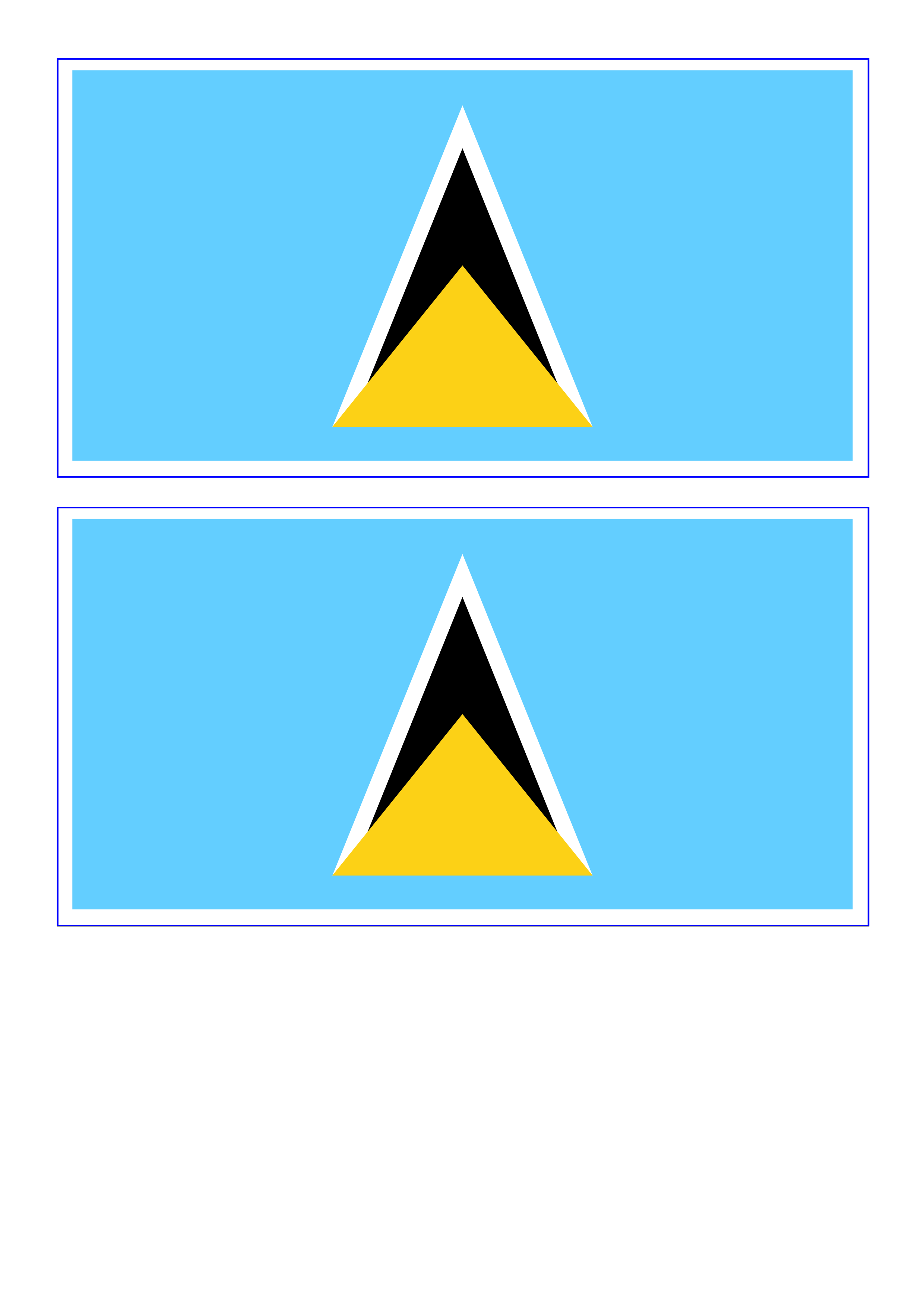 St Lucia Flag Download This Free Printable St Lucia Template A4 Flag A5 Flag 8 And 21 Flags On One A4page Easy To Us Flag Template St Lucia Flag Templates