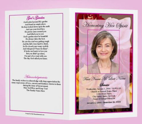 Free Funeral Program Templates  Funeral Program Template  Honoring