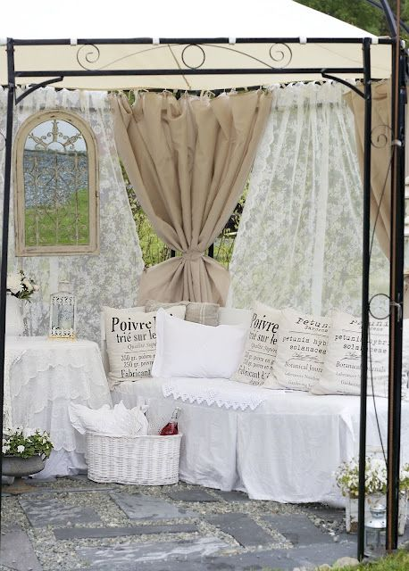 Curtain wall alternate dropcloth with lace tie for peek for Curtain display ideas